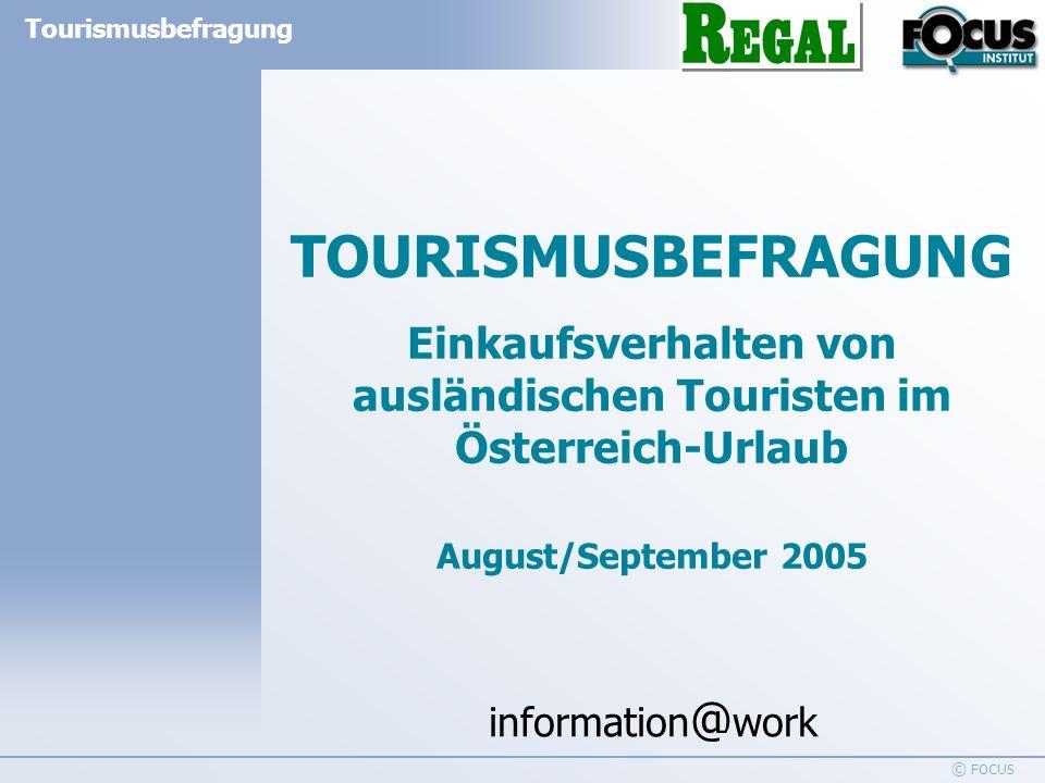 information @ work Tourismusbefragung © FOCUS Tourismusbefragung 2005 im Auftrag des REGAL – 500 persönliche Interviews 2 INHALTSVERZEICHNIS ZUSAMMENFASSUNG3 DATEN ZUR UNTERSUCHUNG4 1.Anzahl der gekauften Artikel5-7 2.Anzahl der gekauften Warengruppen 8-10 3.Gekaufte Warengruppen 11-12 4.Durchschnittliche Anzahl der gekauften Artikel je Warengruppe13-14 5.Top 3 gekaufte Marken der jeweiligen Warengruppe15-44 6.Die 10 meistgekauften Marken45 TABELLEN FRAGEBOGEN