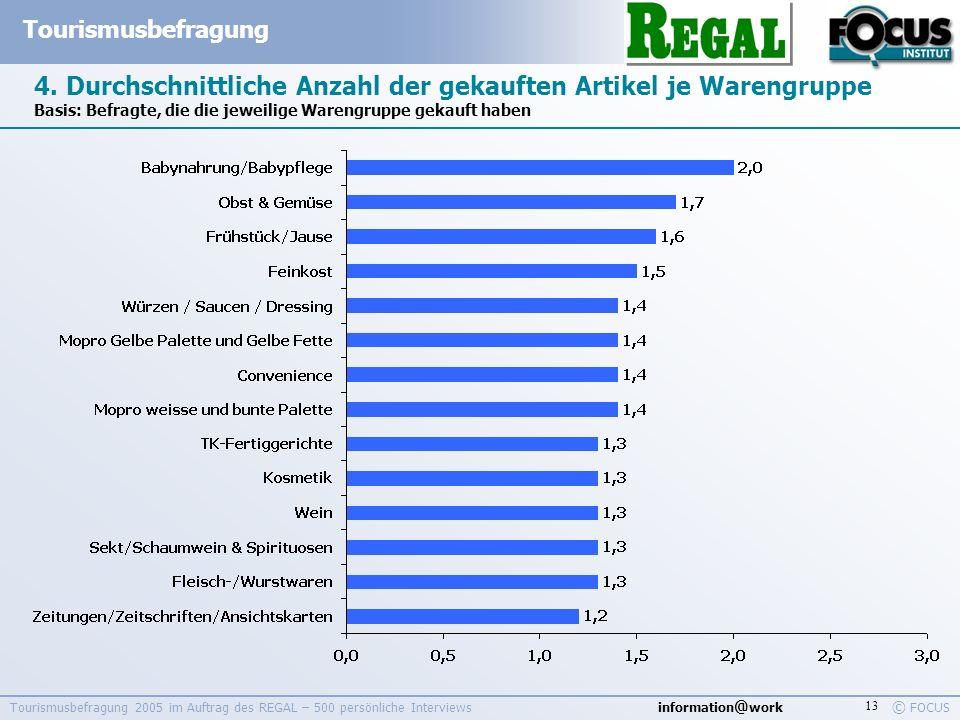 information @ work Tourismusbefragung © FOCUS Tourismusbefragung 2005 im Auftrag des REGAL – 500 persönliche Interviews 13 4. Durchschnittliche Anzahl