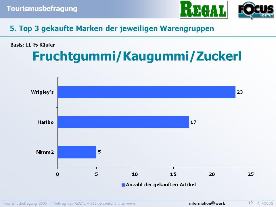information @ work Tourismusbefragung © FOCUS Tourismusbefragung 2005 im Auftrag des REGAL – 500 persönliche Interviews 19 5. Top 3 gekaufte Marken de