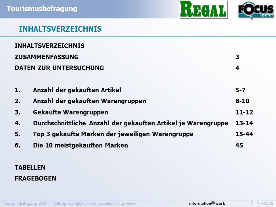 information @ work Tourismusbefragung © FOCUS Tourismusbefragung 2005 im Auftrag des REGAL – 500 persönliche Interviews 3 ZUSAMMENFASSUNG Ausländische Touristen die während eines Österreich-Urlaubs einen Supermarkt besuchen, kaufen durchschnittlich 6,1 Artikel ein.
