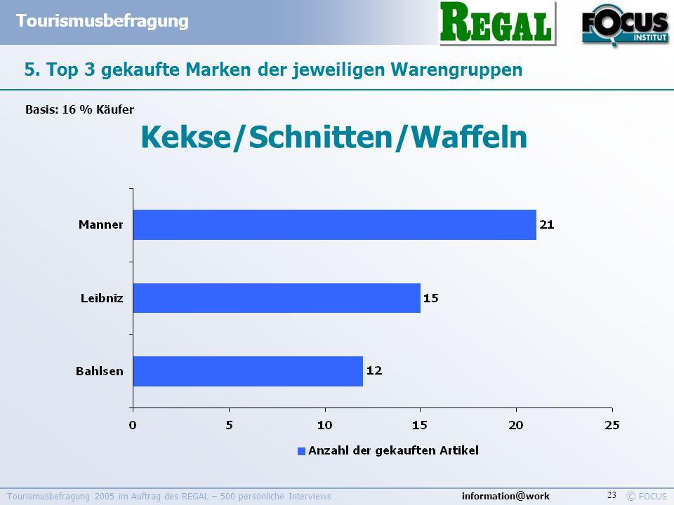 information @ work Tourismusbefragung © FOCUS Tourismusbefragung 2005 im Auftrag des REGAL – 500 persönliche Interviews 23 5. Top 3 gekaufte Marken de