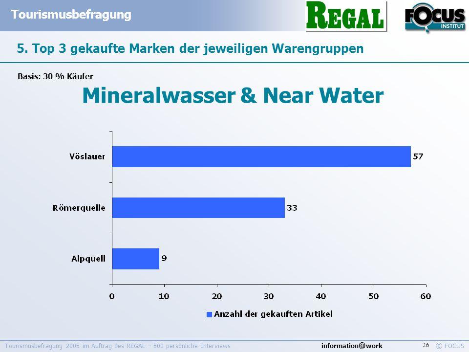 information @ work Tourismusbefragung © FOCUS Tourismusbefragung 2005 im Auftrag des REGAL – 500 persönliche Interviews 26 5. Top 3 gekaufte Marken de