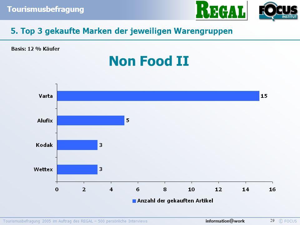 information @ work Tourismusbefragung © FOCUS Tourismusbefragung 2005 im Auftrag des REGAL – 500 persönliche Interviews 29 5. Top 3 gekaufte Marken de