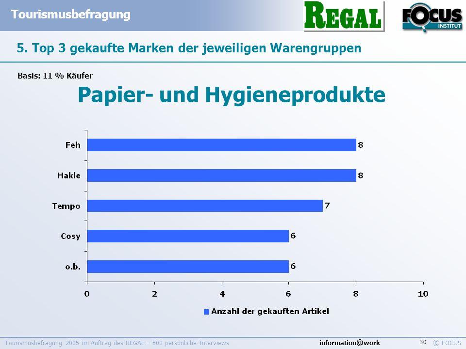 information @ work Tourismusbefragung © FOCUS Tourismusbefragung 2005 im Auftrag des REGAL – 500 persönliche Interviews 30 5. Top 3 gekaufte Marken de