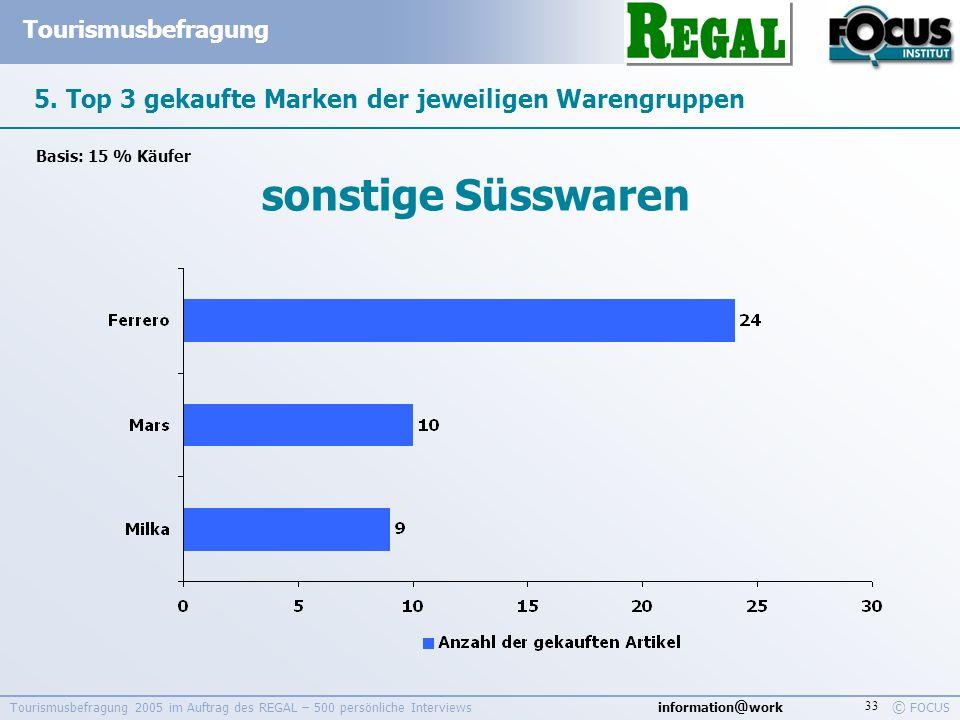 information @ work Tourismusbefragung © FOCUS Tourismusbefragung 2005 im Auftrag des REGAL – 500 persönliche Interviews 33 5. Top 3 gekaufte Marken de