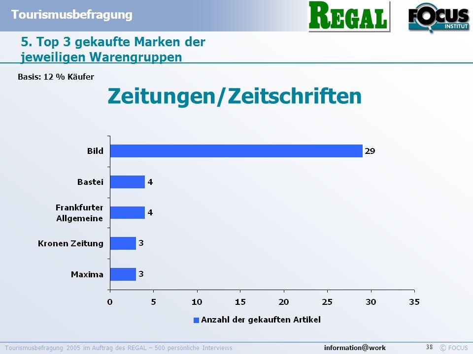 information @ work Tourismusbefragung © FOCUS Tourismusbefragung 2005 im Auftrag des REGAL – 500 persönliche Interviews 38 5. Top 3 gekaufte Marken de