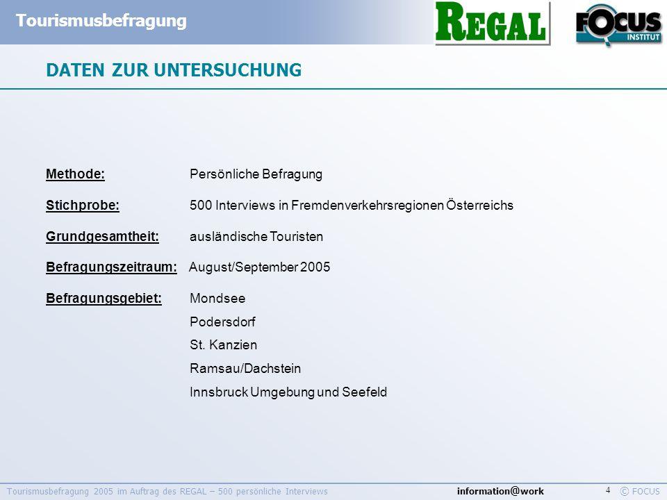 information @ work Tourismusbefragung © FOCUS Tourismusbefragung 2005 im Auftrag des REGAL – 500 persönliche Interviews 4 DATEN ZUR UNTERSUCHUNG Metho