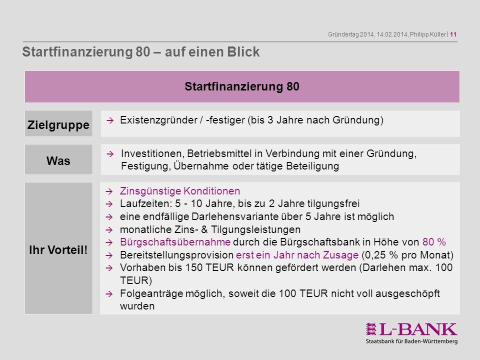 Gründertag 2014, 14.02.2014, Philipp Küller | 11 Startfinanzierung 80 Zielgruppe Was Existenzgründer / -festiger (bis 3 Jahre nach Gründung) Investiti