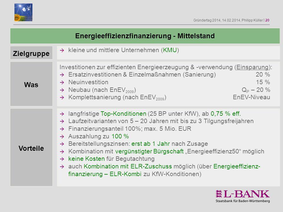 Gründertag 2014, 14.02.2014, Philipp Küller | 20 Zielgruppe Was Vorteile Energieeffizienzfinanzierung - Mittelstand Investitionen zur effizienten Ener
