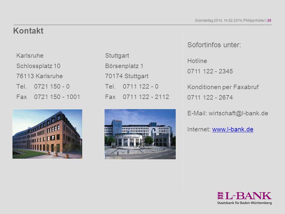 Gründertag 2014, 14.02.2014, Philipp Küller | 28 Sofortinfos unter: Hotline 0711 122 - 2345 Konditionen per Faxabruf 0711 122 - 2674 E-Mail: wirtschaf