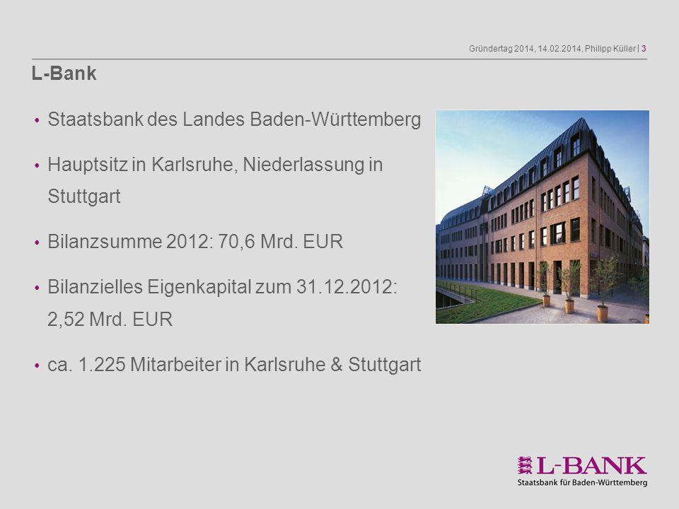 Gründertag 2014, 14.02.2014, Philipp Küller | 3 Staatsbank des Landes Baden-Württemberg Hauptsitz in Karlsruhe, Niederlassung in Stuttgart Bilanzsumme
