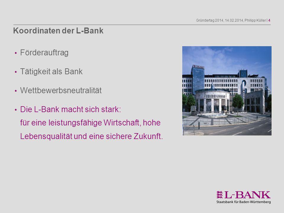 Gründertag 2014, 14.02.2014, Philipp Küller | 4 Förderauftrag Tätigkeit als Bank Wettbewerbsneutralität Die L-Bank macht sich stark: für eine leistung