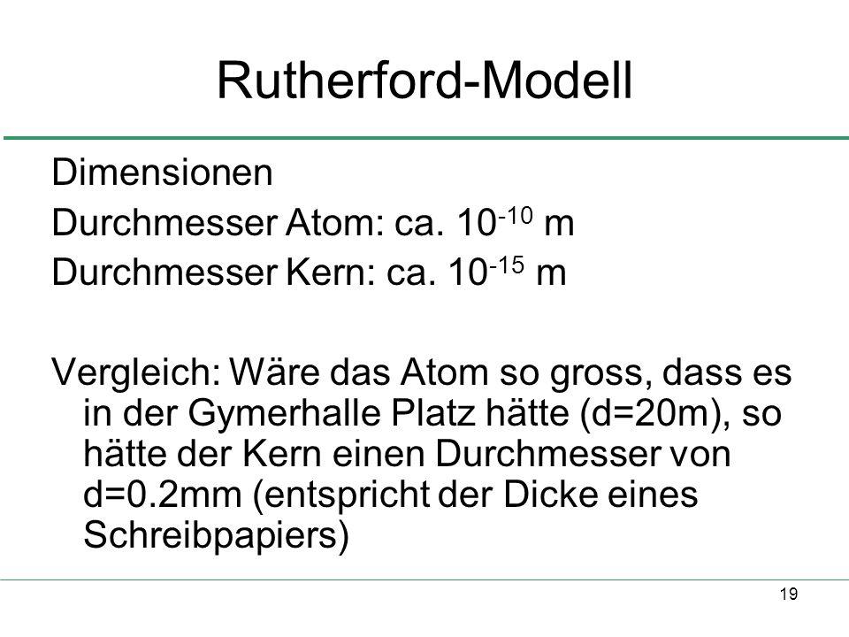 19 Rutherford-Modell Dimensionen Durchmesser Atom: ca. 10 -10 m Durchmesser Kern: ca. 10 -15 m Vergleich: Wäre das Atom so gross, dass es in der Gymer