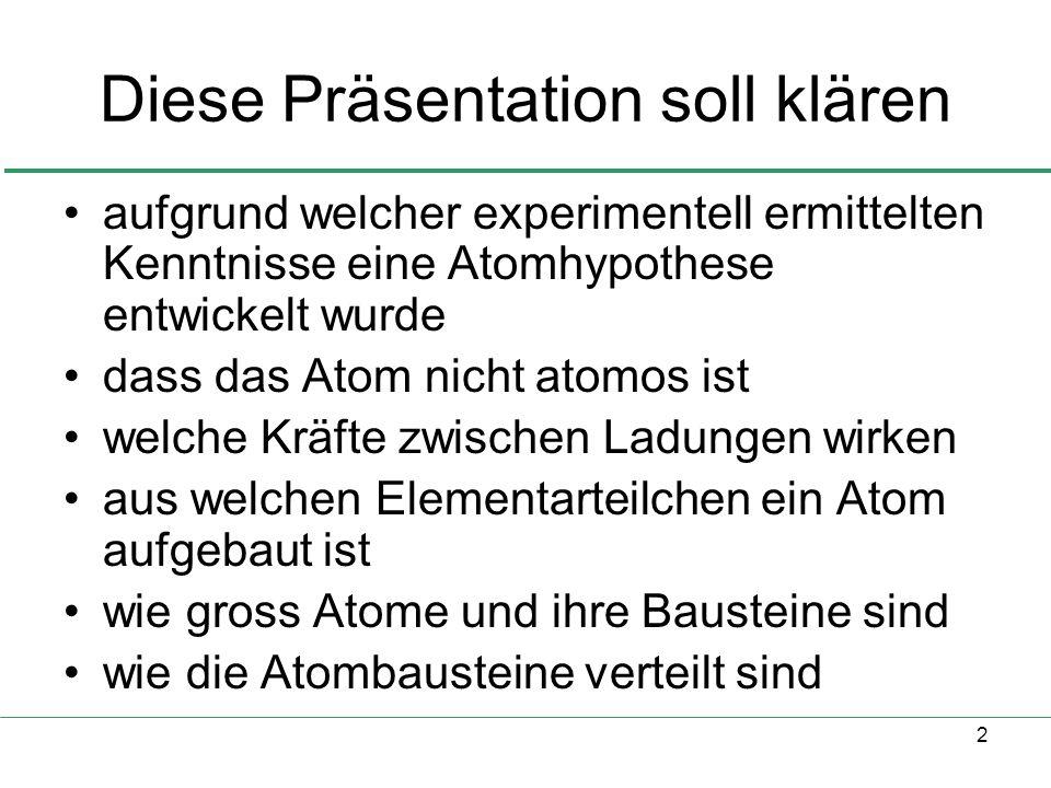 2 Diese Präsentation soll klären aufgrund welcher experimentell ermittelten Kenntnisse eine Atomhypothese entwickelt wurde dass das Atom nicht atomos ist welche Kräfte zwischen Ladungen wirken aus welchen Elementarteilchen ein Atom aufgebaut ist wie gross Atome und ihre Bausteine sind wie die Atombausteine verteilt sind