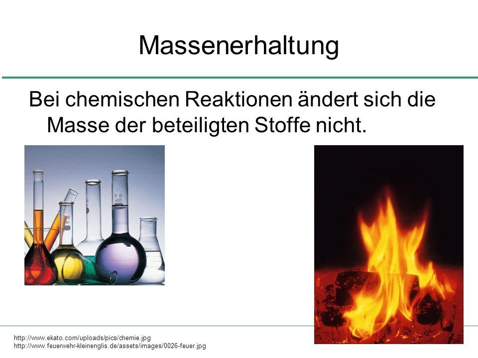 3 Massenerhaltung Bei chemischen Reaktionen ändert sich die Masse der beteiligten Stoffe nicht. http://www.ekato.com/uploads/pics/chemie.jpg http://ww