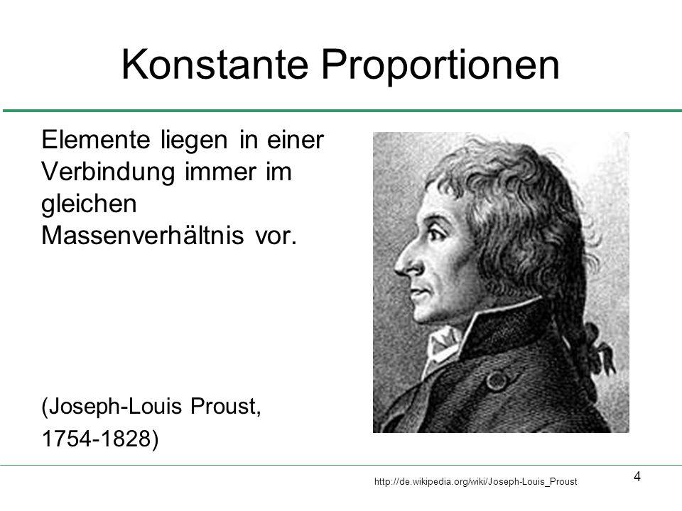 4 Konstante Proportionen Elemente liegen in einer Verbindung immer im gleichen Massenverhältnis vor. (Joseph-Louis Proust, 1754-1828) http://de.wikipe