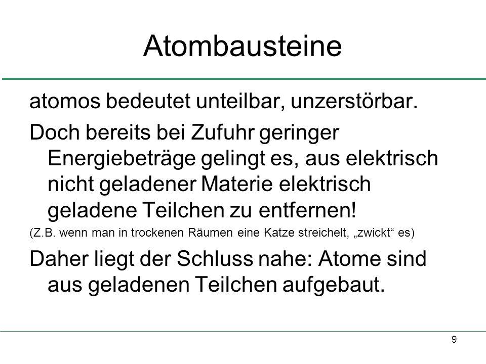 9 Atombausteine atomos bedeutet unteilbar, unzerstörbar.