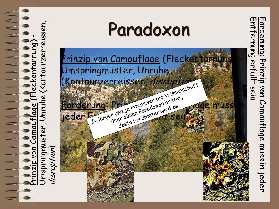 Paradoxon Forderung: Prinzip von Camouflage muss in jeder Entfernung erfüllt sein Prinzip von Camouflage (Fleckentarnung) – Umspringmuster, Unruhe (Ko
