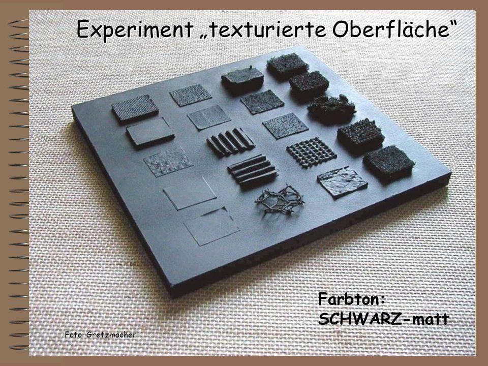 Experiment texturierte Oberfläche Farbton: SCHWARZ-matt Foto: Gretzmacher