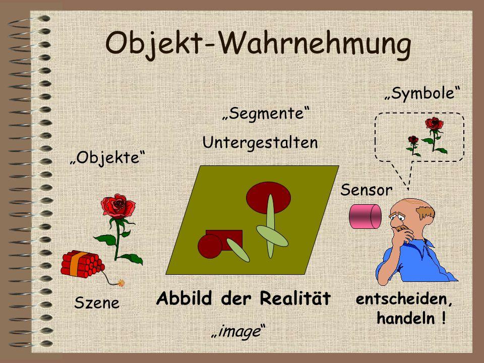 Objekt-Wahrnehmung Abbild der Realität Sensor Szene Symbole Segmente Untergestalten entscheiden, handeln ! Objekte image