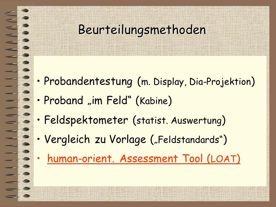 Probandentestung ( m. Display, Dia-Projektion ) Proband im Feld ( Kabine ) Feldspektometer ( statist. Auswertung ) Vergleich zu Vorlage ( Feldstandard