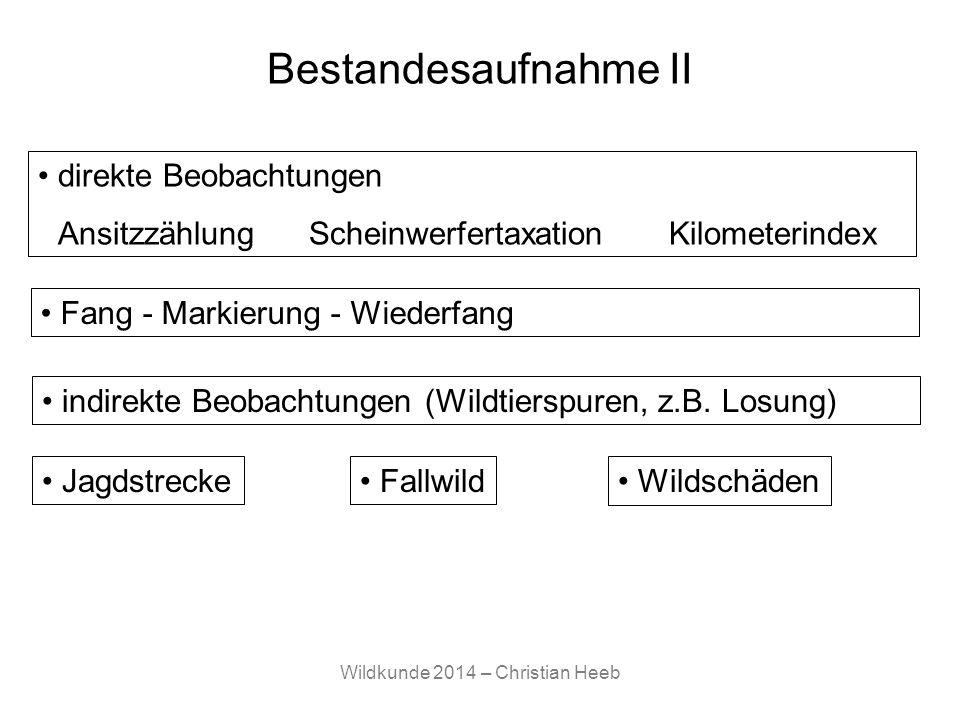 Wildkunde 2014 – Christian Heeb Bestandesaufnahme II Jagdstrecke Fallwild Wildschäden direkte Beobachtungen AnsitzzählungScheinwerfertaxationKilometer