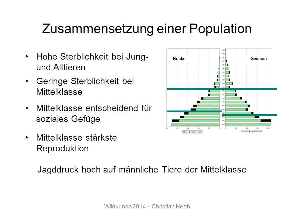 Wildkunde 2014 – Christian Heeb Zusammensetzung einer Population Jagddruck hoch auf männliche Tiere der Mittelklasse Hohe Sterblichkeit bei Jung- und