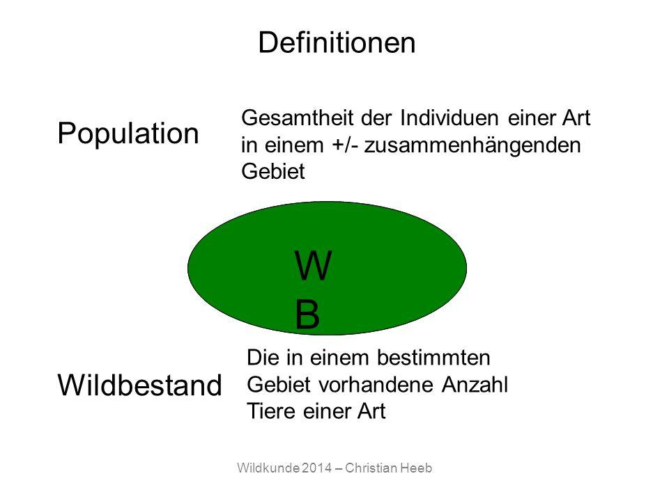 Wildkunde 2014 – Christian Heeb Definitionen Population Gesamtheit der Individuen einer Art in einem +/- zusammenhängenden Gebiet P Die in einem besti