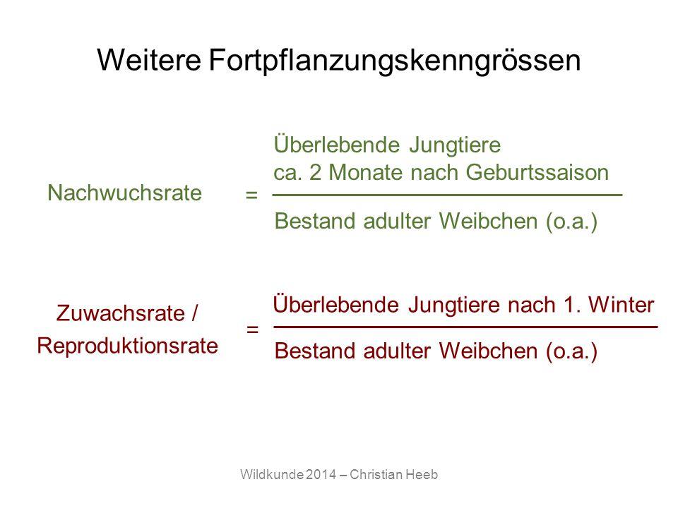 Wildkunde 2014 – Christian Heeb Weitere Fortpflanzungskenngrössen Nachwuchsrate Überlebende Jungtiere ca. 2 Monate nach Geburtssaison = Bestand adulte