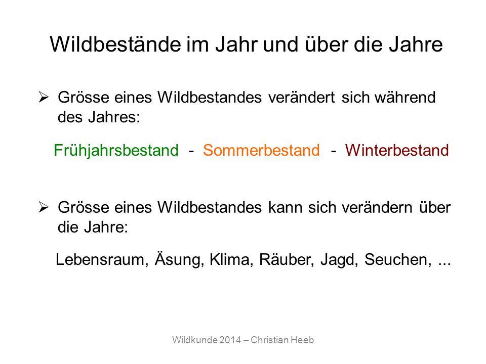 Wildkunde 2014 – Christian Heeb Grösse eines Wildbestandes verändert sich während des Jahres: Wildbestände im Jahr und über die Jahre Frühjahrsbestand