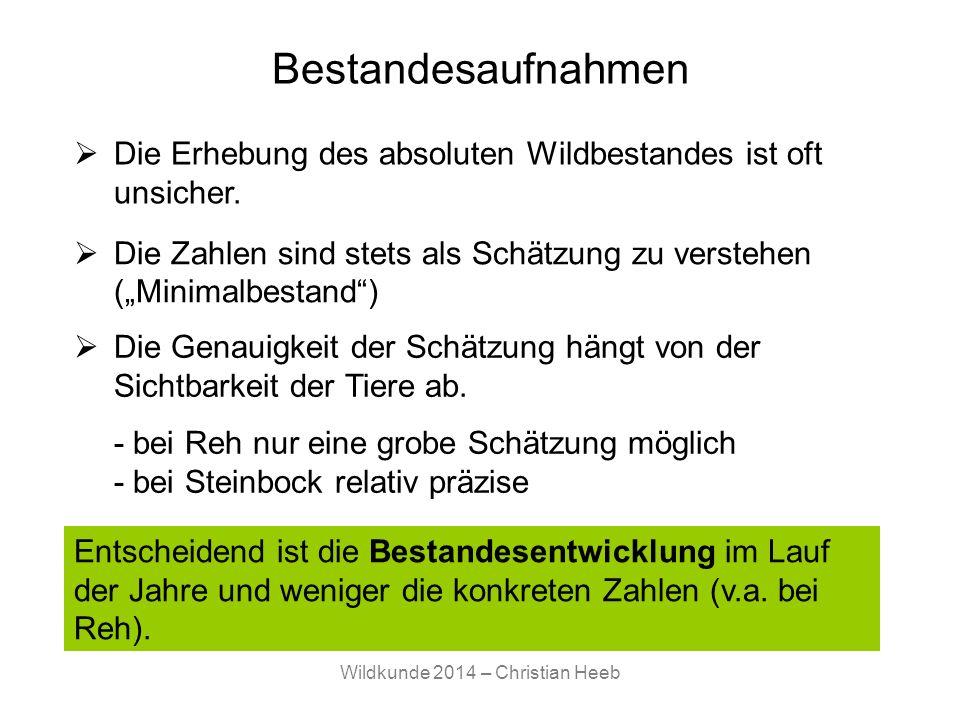 Wildkunde 2014 – Christian Heeb Bestandesaufnahme II Jagdstrecke Fallwild Wildschäden direkte Beobachtungen AnsitzzählungScheinwerfertaxationKilometerindex indirekte Beobachtungen (Wildtierspuren, z.B.
