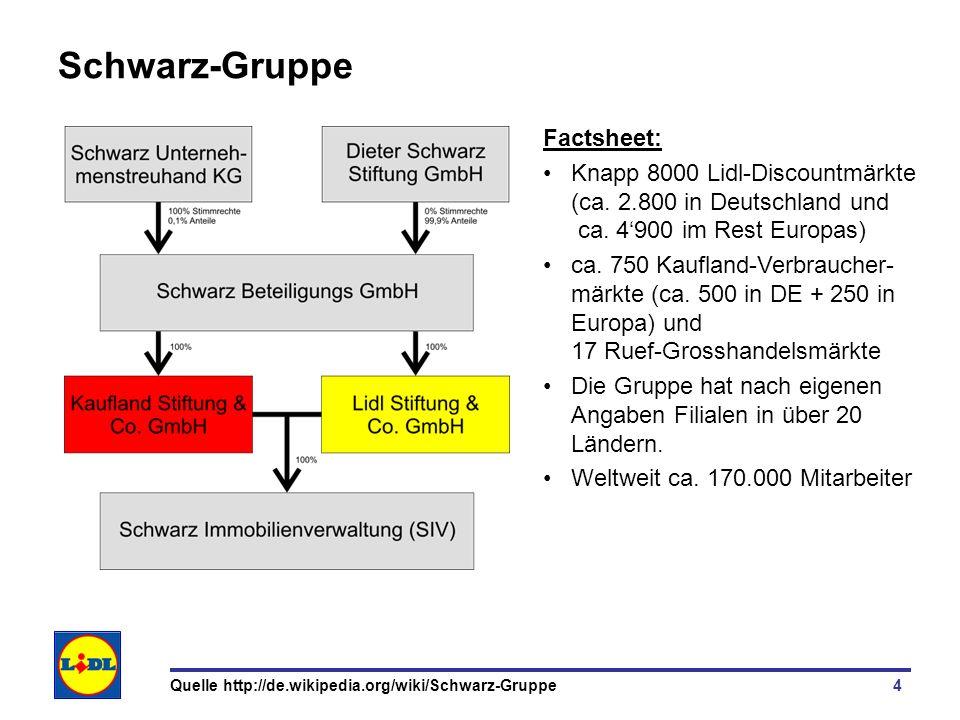 4 Schwarz-Gruppe Factsheet: Knapp 8000 Lidl-Discountmärkte (ca. 2.800 in Deutschland und ca. 4900 im Rest Europas) ca. 750 Kaufland-Verbraucher- märkt