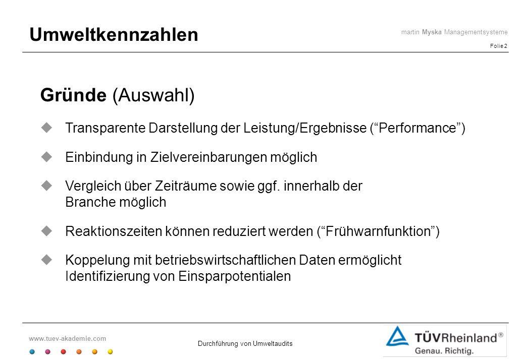 www.tuev-akademie.com Folie 2 martin Myska Managementsysteme Durchführung von Umweltaudits Umweltkennzahlen Gründe (Auswahl) Transparente Darstellung
