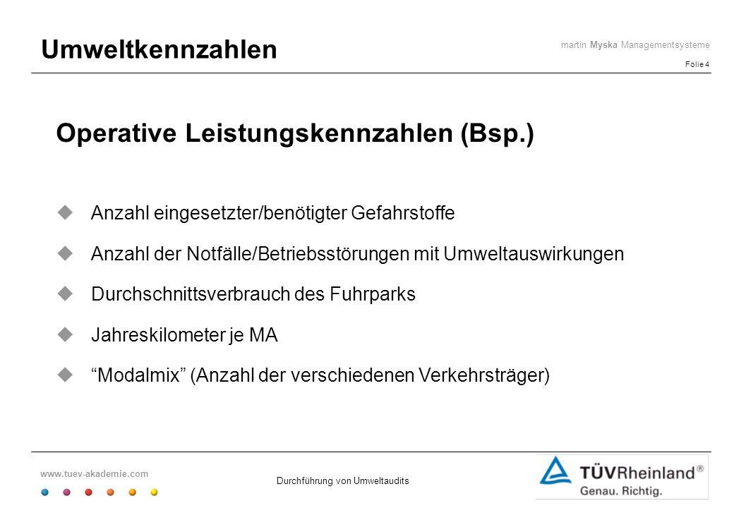www.tuev-akademie.com Folie 4 martin Myska Managementsysteme Durchführung von Umweltaudits Umweltkennzahlen Operative Leistungskennzahlen (Bsp.) Anzah