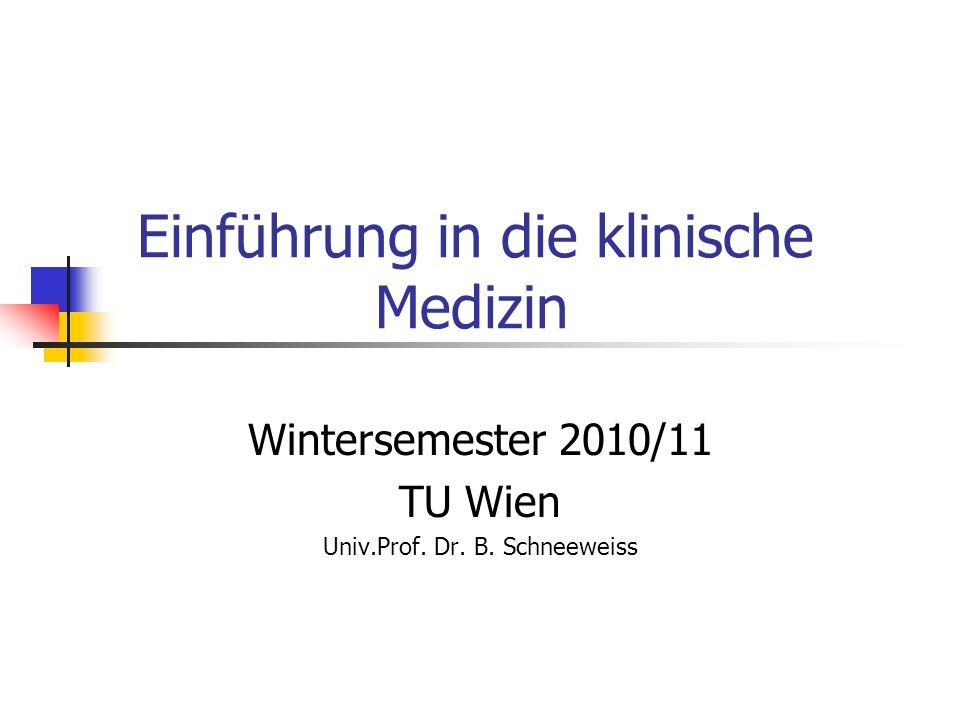 Einführung in die klinische Medizin Wintersemester 2010/11 TU Wien Univ.Prof. Dr. B. Schneeweiss