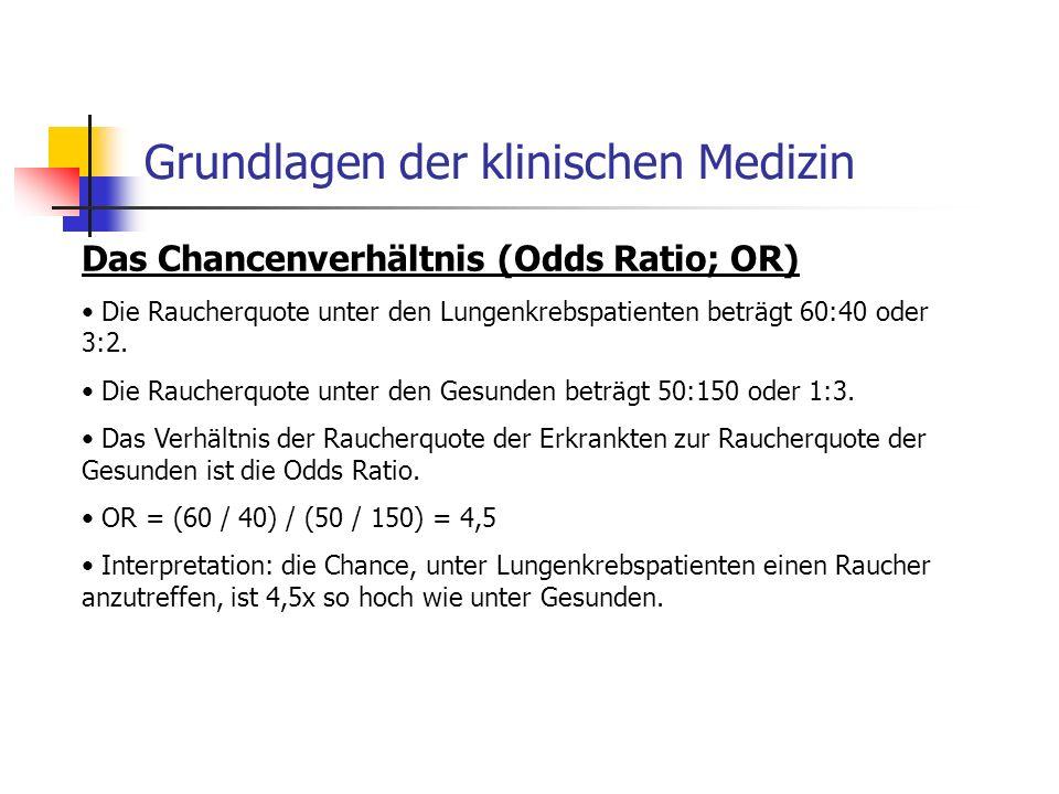 Grundlagen der klinischen Medizin Das Chancenverhältnis (Odds Ratio; OR) Die Raucherquote unter den Lungenkrebspatienten beträgt 60:40 oder 3:2.