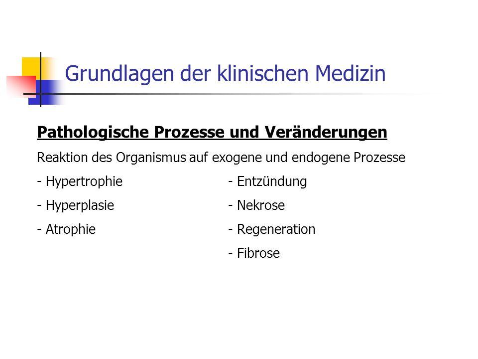 Grundlagen der klinischen Medizin Pathologische Prozesse und Veränderungen Reaktion des Organismus auf exogene und endogene Prozesse - Hypertrophie- Entzündung - Hyperplasie- Nekrose - Atrophie- Regeneration - Fibrose