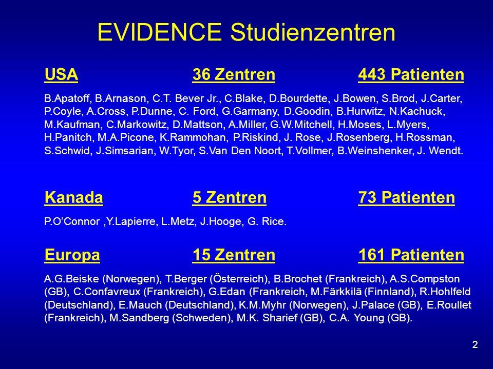 2 EVIDENCE Studienzentren USA36 Zentren 443 Patienten B.Apatoff, B.Arnason, C.T. Bever Jr., C.Blake, D.Bourdette, J.Bowen, S.Brod, J.Carter, P.Coyle,