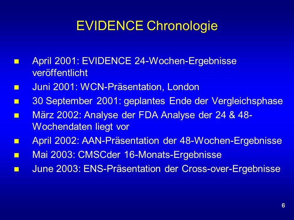 6 EVIDENCE Chronologie April 2001: EVIDENCE 24-Wochen-Ergebnisse veröffentlicht Juni 2001: WCN-Präsentation, London 30 September 2001: geplantes Ende