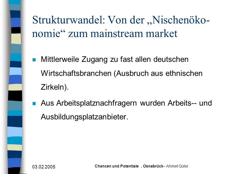 03.02 2005 Chancen und Potentiale, Osnabrück– Ahmet Güler Strukturwandel: Von der Nischenöko- nomie zum mainstream market n Mittlerweile Zugang zu fas