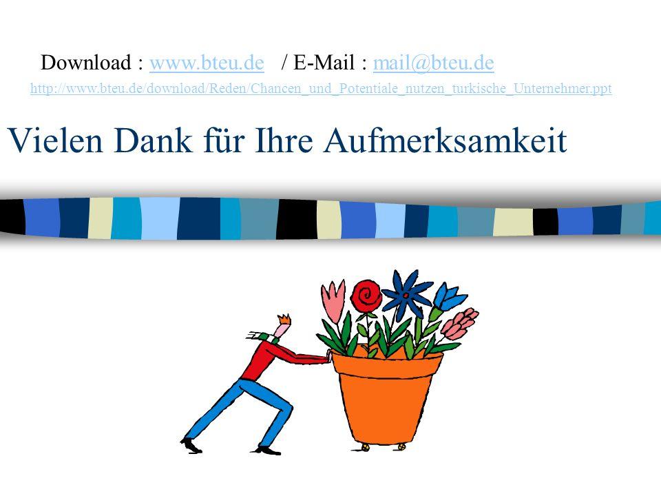 Vielen Dank für Ihre Aufmerksamkeit Download : www.bteu.de / E-Mail : mail@bteu.de http://www.bteu.de/download/Reden/Chancen_und_Potentiale_nutzen_tur
