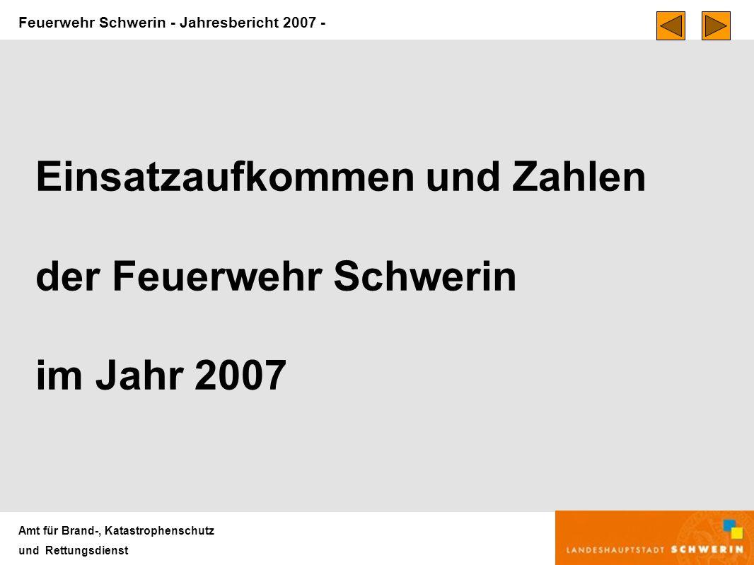 Feuerwehr Schwerin - Jahresbericht 2007 - Amt für Brand-, Katastrophenschutz und Rettungsdienst Einsatzaufkommen und Zahlen der Feuerwehr Schwerin im Jahr 2007