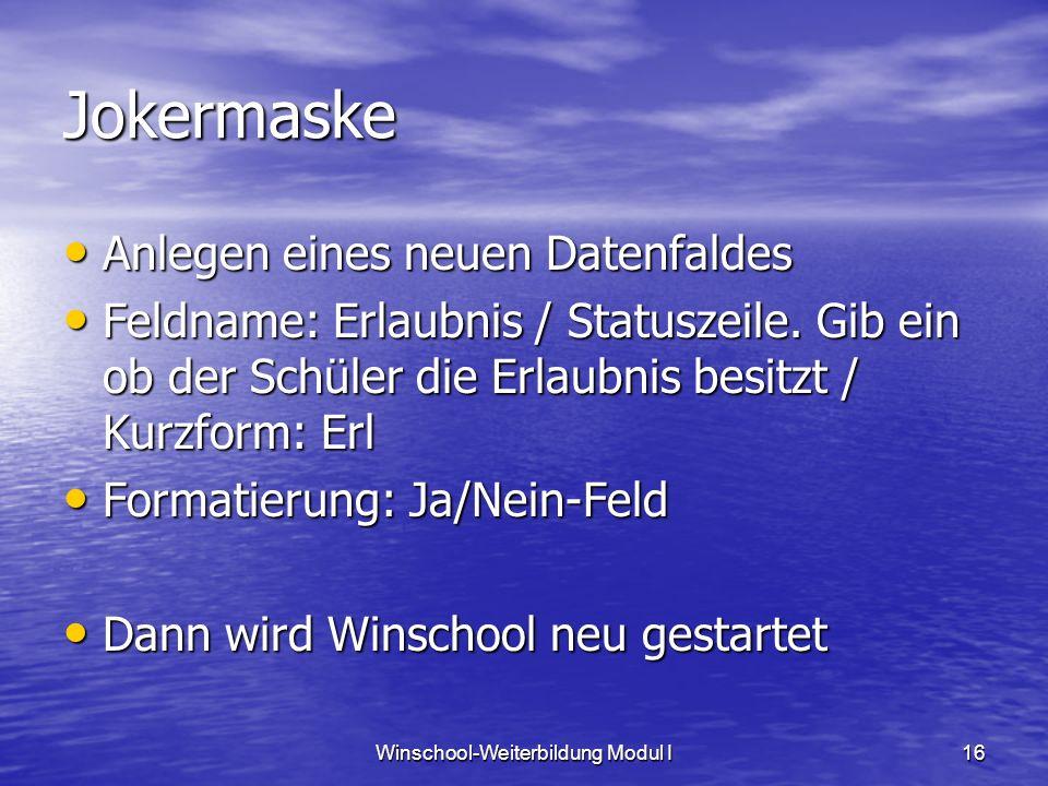Winschool-Weiterbildung Modul I16 Jokermaske Anlegen eines neuen Datenfaldes Anlegen eines neuen Datenfaldes Feldname: Erlaubnis / Statuszeile. Gib ei