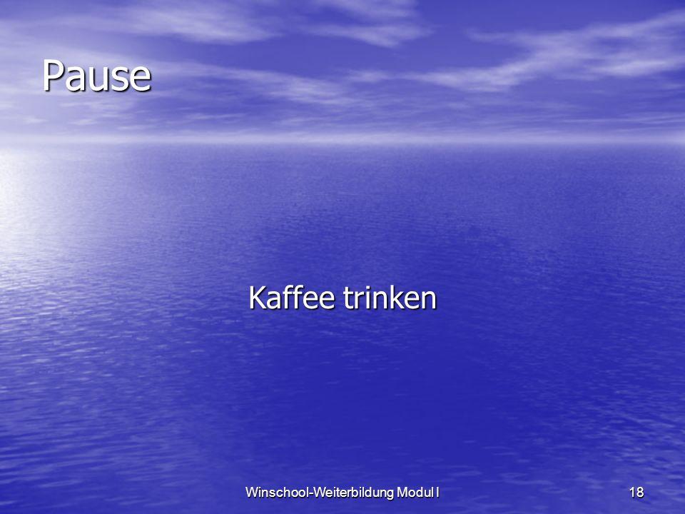 Winschool-Weiterbildung Modul I18 Pause Kaffee trinken
