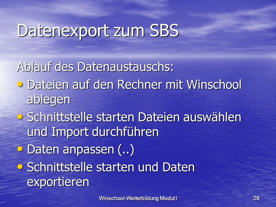 Winschool-Weiterbildung Modul I28 Datenexport zum SBS Ablauf des Datenaustauschs: Dateien auf den Rechner mit Winschool ablegen Dateien auf den Rechne