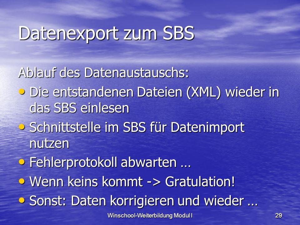 Winschool-Weiterbildung Modul I29 Datenexport zum SBS Ablauf des Datenaustauschs: Die entstandenen Dateien (XML) wieder in das SBS einlesen Die entstandenen Dateien (XML) wieder in das SBS einlesen Schnittstelle im SBS für Datenimport nutzen Schnittstelle im SBS für Datenimport nutzen Fehlerprotokoll abwarten … Fehlerprotokoll abwarten … Wenn keins kommt -> Gratulation.