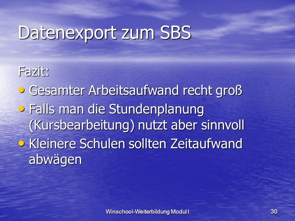 Winschool-Weiterbildung Modul I30 Datenexport zum SBS Fazit: Gesamter Arbeitsaufwand recht groß Gesamter Arbeitsaufwand recht groß Falls man die Stund