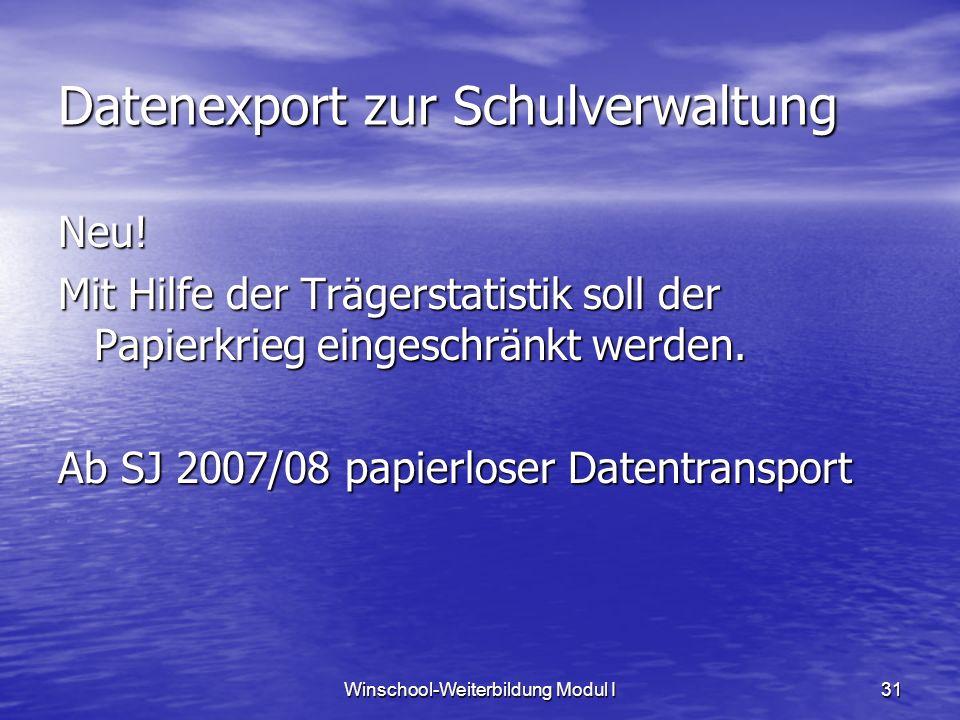 Winschool-Weiterbildung Modul I31 Datenexport zur Schulverwaltung Neu! Mit Hilfe der Trägerstatistik soll der Papierkrieg eingeschränkt werden. Ab SJ