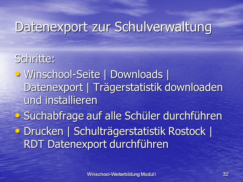 Winschool-Weiterbildung Modul I32 Datenexport zur Schulverwaltung Schritte: Winschool-Seite | Downloads | Datenexport | Trägerstatistik downloaden und