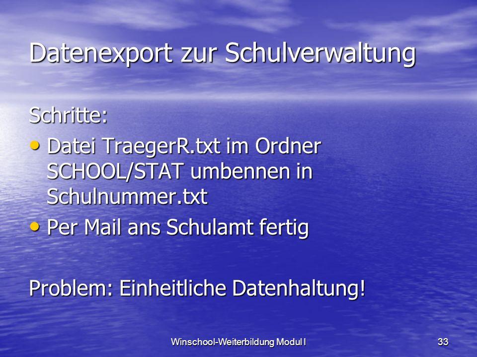 Winschool-Weiterbildung Modul I33 Datenexport zur Schulverwaltung Schritte: Datei TraegerR.txt im Ordner SCHOOL/STAT umbennen in Schulnummer.txt Datei TraegerR.txt im Ordner SCHOOL/STAT umbennen in Schulnummer.txt Per Mail ans Schulamt fertig Per Mail ans Schulamt fertig Problem: Einheitliche Datenhaltung!